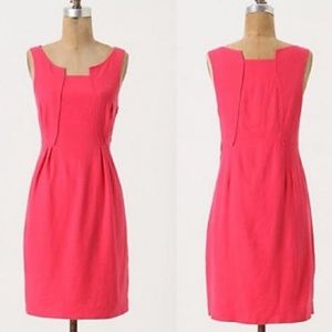 Anthropologie Pink Linen Shift Dress